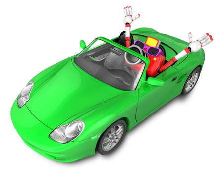 convertible car: Driving a Green Convertible car in Red camera Character. Create 3D Camera Robot Series. Stock Photo