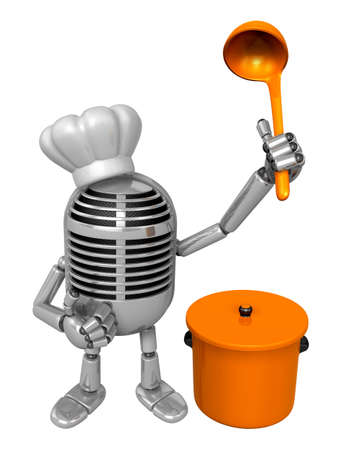 classical mechanics: 3D Classic Microphone Mascot hand is holding a ladle and saucepan. 3D Classic Microphone Robot Character Series. Stock Photo