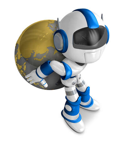 humanoid: Blue Robot holding a globe. Create 3D Humanoid Robot Series. Stock Photo