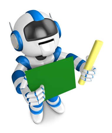 allegiance: Blue robot holding a blackboard and chalk. Create 3D Humanoid Robot Series. Stock Photo
