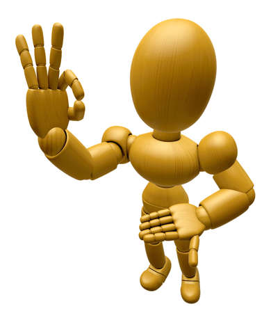 3d doll: 3D Wood Doll Mascot the OK gesture. 3D Wooden Ball Jointed Doll Character Design Series.