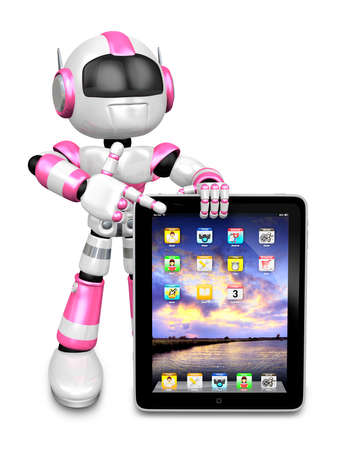 humanoid: The Smartphone Point to A Pink robots. Create 3D Humanoid Robot Series.