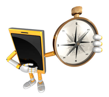 azimuth: 3D Smart Phone Mascot is holding a compass. 3D Mobile Phone Character Design Series.