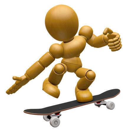 dynamic activity: 3D Wood Doll Mascot to play skateboard. 3D Wooden Ball Jointed Doll Character Design Series.