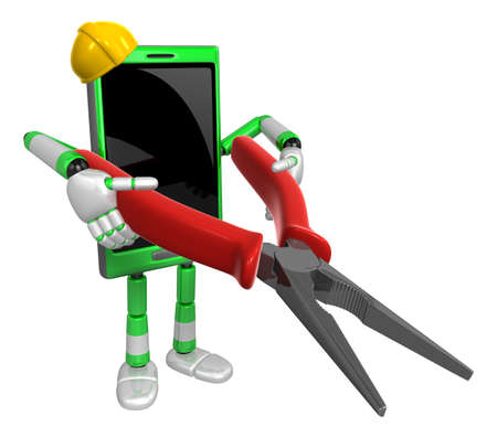 cellularphone: 3D Smart Phone Mascot holding a Lone Nose with both hands. 3D Mobile Phone Character Design Series. Stock Photo
