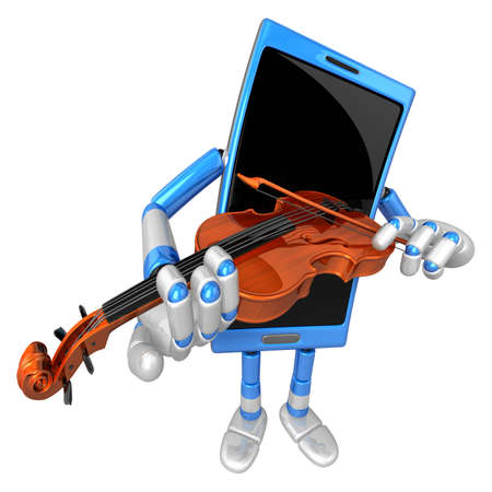 classical mechanics: 3D Smart Phone Mascot has to be playing the violin. 3D Mobile Phone Character Design Series.
