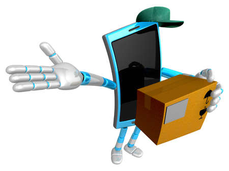 left hand: 3D Smart Phone Mascot the right hand guides and the left hand is holding a courier box. 3D Mobile Phone Character Design Series. Stock Photo