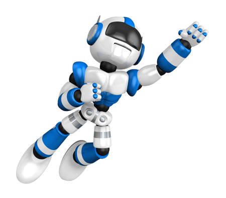 humanoid: Blue Robot robot flying towards the sky. Create 3D Humanoid Robot Series.