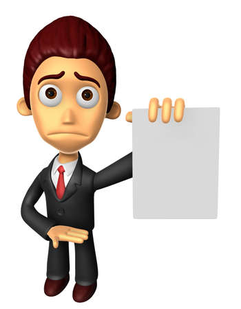uneasiness: 3D Business man mascot Anxious look holding a paper document. Work and Job Character Design Series.