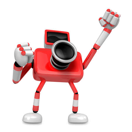 pugilism: A Red Camera Character and a boxing play. Create 3D Camera Robot Series.