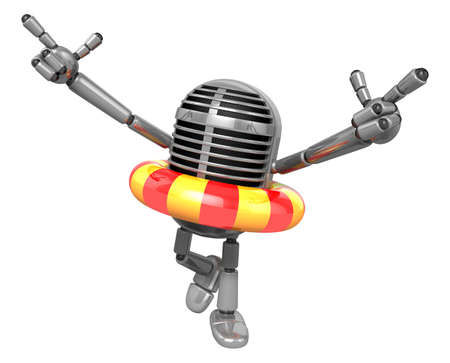 fidelity: 3D Classic Microphone Mascot To point the finger at you with both hands dips tube rides. 3D Classic Microphone Robot Character Series.