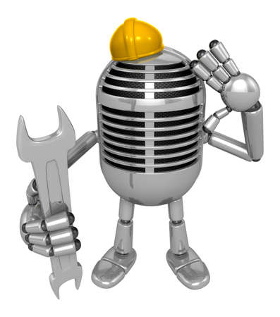 fidelity: 3D Classic Microphone Mascot the hand is holding a spanner. 3D Classic Microphone Robot Character Series.
