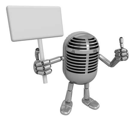 preservation: 3D Classic Microphone Mascot the right hand best gesture and left hand is holding a picket. 3D Classic Microphone Robot Character Series.