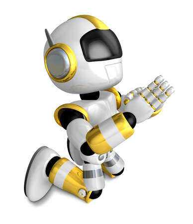humanoid: Prayer and Gold Robot. Create 3D Humanoid Robot Series.