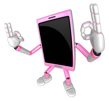 cellularphone: 3D Smart Phone Mascot the OK gesture. 3D Mobile Phone Character Design Series.