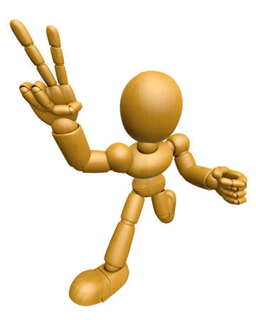 jointed: 3D Wood Doll Mascot the victory gesture. 3D Wooden Ball Jointed Doll Character Design Series.