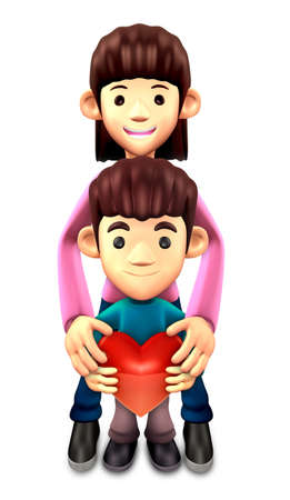 personality character: 3D Father and Son Mascot. 3D Family and Children Character Design Series.