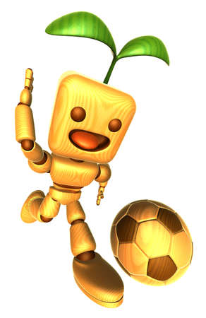 dribbled: 3D Wood Doll Mascot dribbled the ball towards the goal with speed. Wooden Ball Jointed doll Character Design Series.