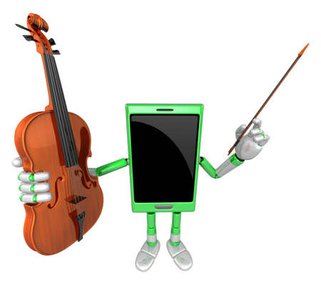 fiddlestick: 3D Smart Phone Mascot is holding a violin. 3D Mobile Phone Character Design Series.