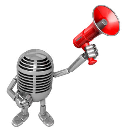 classical mechanics: 3D Classic Microphone Mascot the hand is holding a loudspeaker. 3D Classic Microphone Robot Character Series. Stock Photo
