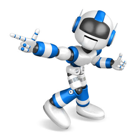 humanoid: Blue robot character Pointing toward the front. Create 3D Humanoid Robot Series.