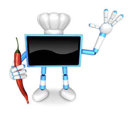 spicy mascot: Blue TV Chef mascot the right hand guides and the left hand is holding a Red Pepper. Create 3D Television Robot Series. Stock Photo