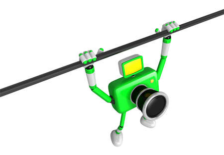 fidelity: Green Camera character is hanging in horizontal bar. Create 3D Camera Robot Series.