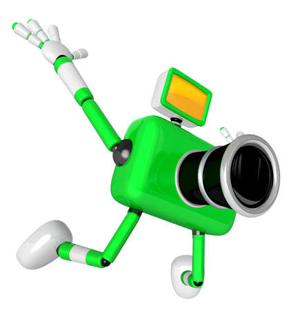 jump shot: The Green Camera Character in Dynamic photos of the jump shot camera. Create 3D Camera Robot Series. Stock Photo