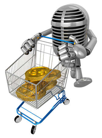 fidelity: 3D Classic Mike is pushing a trolley with both hands all the gold coins. 3D Classic Microphone Robot Character Series.