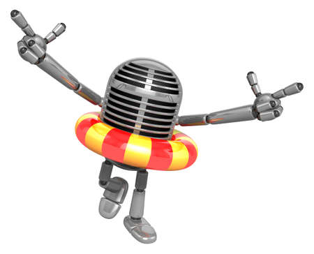 caballa: 3D Classic Microphone Mascot To point the finger at you with both hands dips tube rides. 3D Classic Microphone Robot Character Series.