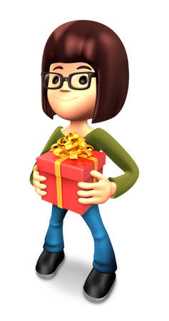 confess: 3D Mother Mascot holding a large Gift Box. 3D Family and Children Character Design Series. Stock Photo