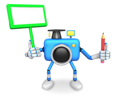 left hand: The left hand Holding the board Doctor Blue Camera Character. The right hand grasp pencil. Create 3D Camera Robot Series.