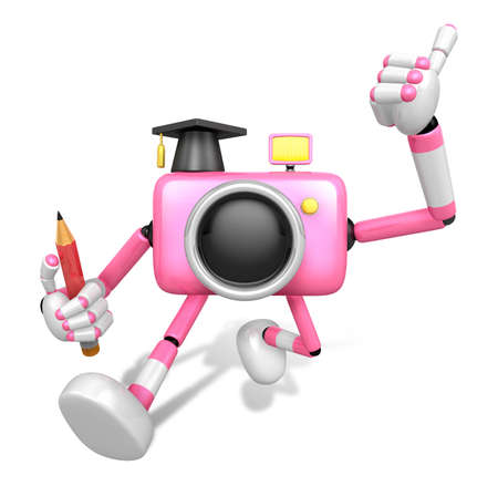 grasp: The best gesture of the right hand is taking Master Pink Camera Character. The Left hand grasp pencil. Create 3D Camera Robot Series.