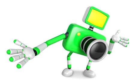 kindly: Green camera Character Kindly guide. Create 3D Camera Robot Series.