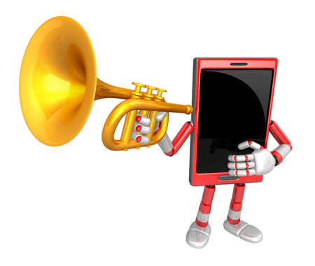 classical mechanics: 3D Smart Phone Mascot has to be playing the Trumpet. 3D Mobile Phone Character Design Series.