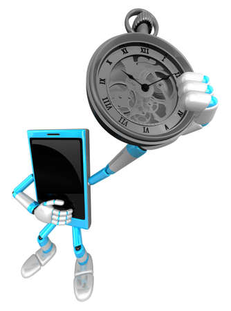 pocketwatch: 3D Smart Phone Mascot is holding a pocket watch. 3D Mobile Phone Character Design Series. Stock Photo