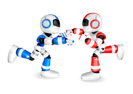 humanoid: The Blue robots and Red robot boxing matches. Create 3D Humanoid Robot Series. Stock Photo