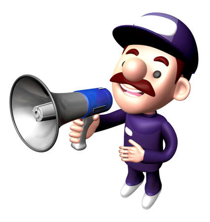 smart goals: 3D Service man Mascot the hand is holding a loudspeaker. Work and Job Character Design Series. Stock Photo