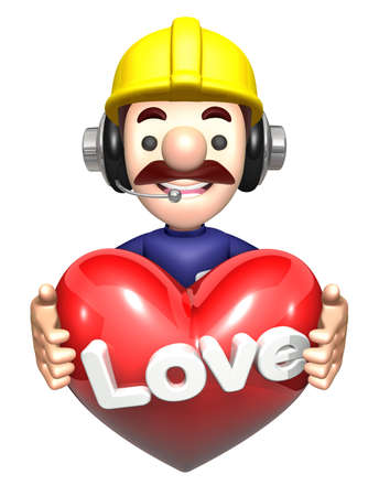character design: The men holding hearts. Work and Job Character Design Series.