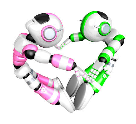 body language: The heart in the form of body language. Create 3D Humanoid Robot Series.