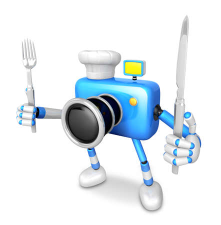 left hand: Chef Blue Camera Character right hand, Fork in the left hand holding a Knife. Create 3D Camera Robot Series.