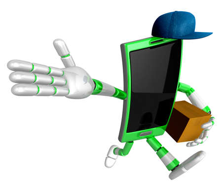 cellularphone: 3D Smart Phone Mascot the right hand guides and the left hand is holding a courier box. 3D Mobile Phone Character Design Series. Stock Photo