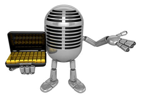 goldbar: 3D Classic Microphone Mascot the left hand guides and the right hand is holding a Gold bar bag. 3D Classic Microphone Robot Character Series.