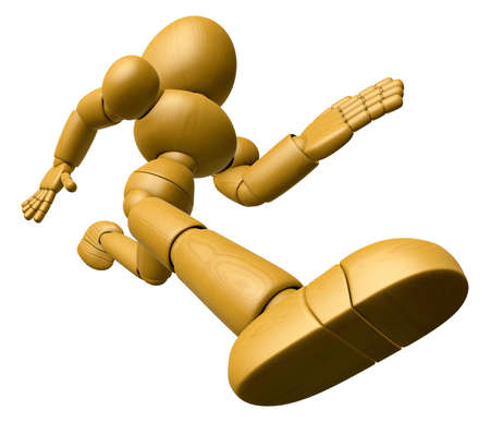 endeavor: 3D Wood Doll Mascot running on a High Angle Shot. 3D Wooden Ball Jointed Doll Character Design Series. Stock Photo