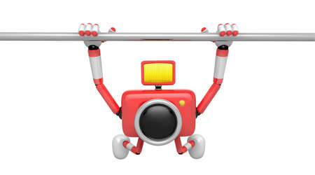 fidelity: Red Camera character is hanging in horizontal bar. Create 3D Camera Robot Series.