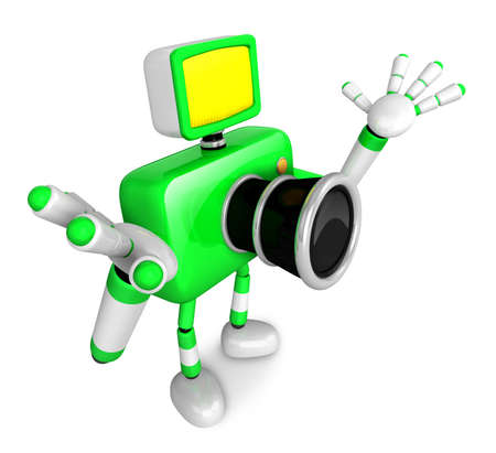 stretched: Nonsense Green Camera Character stretched out both hands. Create 3D Camera Robot Series. Stock Photo
