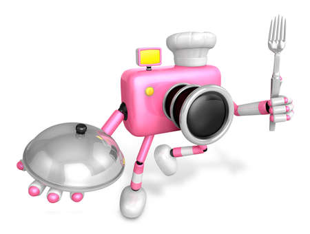 plate camera: Chef Pink Camera Character right hand, Plate in the left hand holding a fork. Create 3D Camera Robot Series.