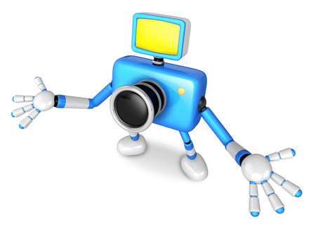 stretched: Nonsense blue Camera Character stretched out both hands. Create 3D Camera Robot Series. Stock Photo