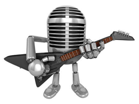fidelity: 3D Classic Microphone Mascot to be playing the electric guitar. 3D Classic Microphone Robot Character Series.