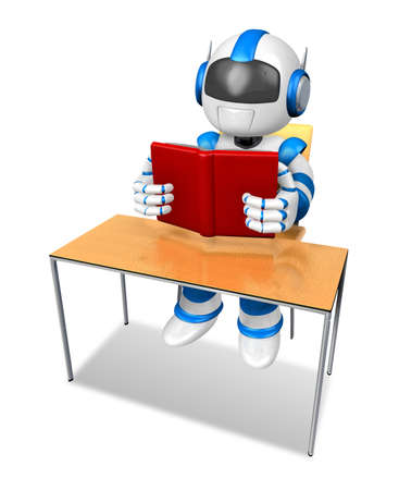 humanoid: Blue robot character from the desk reading a book. Create 3D Humanoid Robot Series. Stock Photo